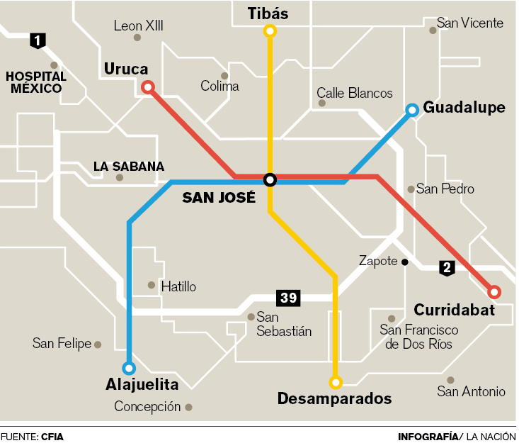 San Jose Subway Map.Subway Metro System For San Jose Proposed Q Costa Rica