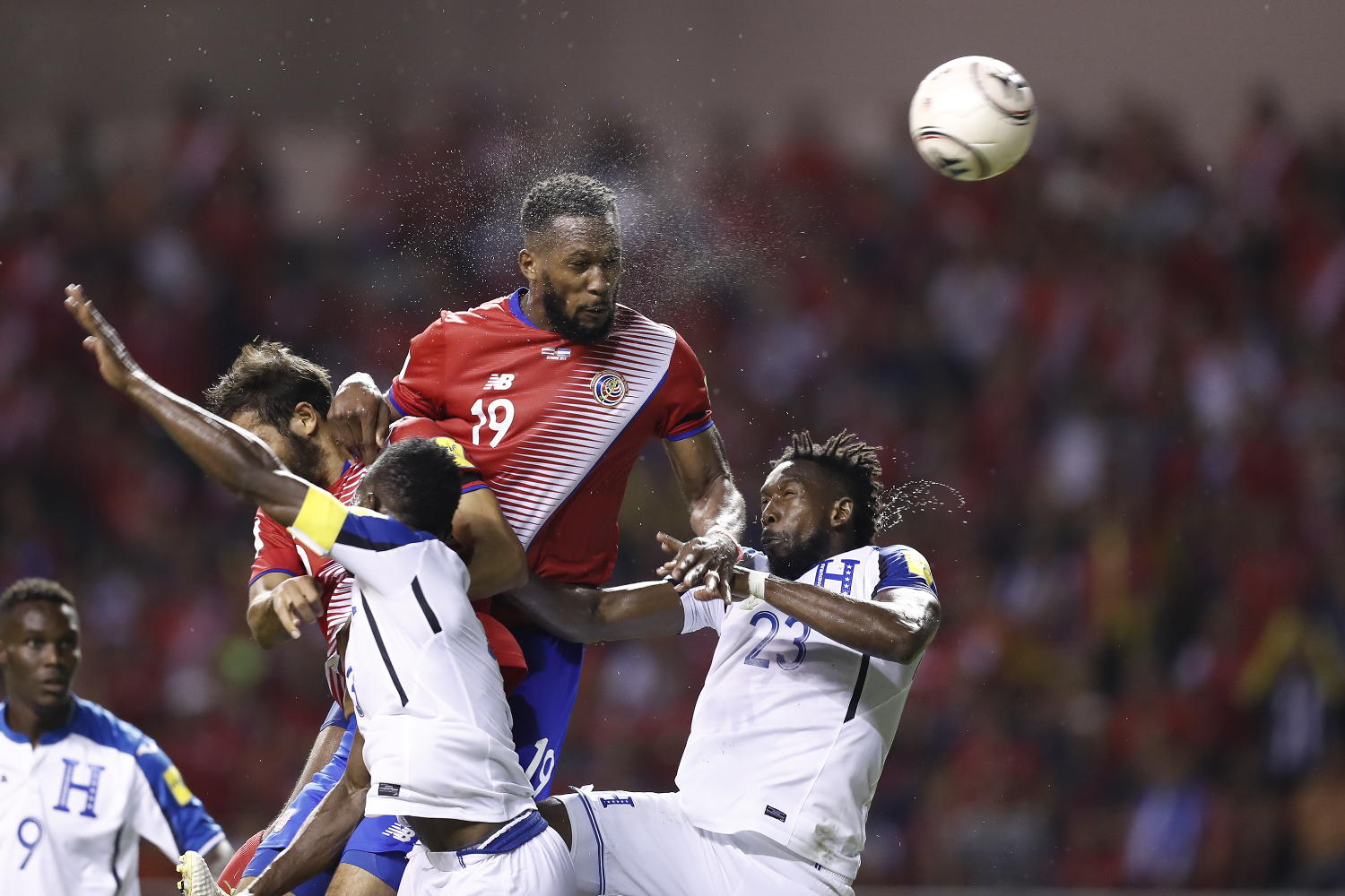0ee53b7a556 The moment Kendal Waston headbutts the goal officially qualifying Costa  Rica to the 2018 FIFA World Cup Russia. Foto José Cordero