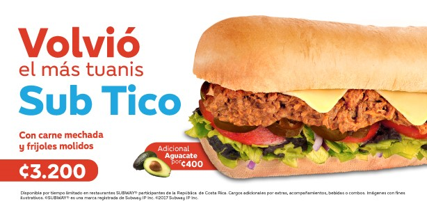 In Costa Rica, there is the Sub Tico: shredded beef, ground beans, custard  and lizano sauce (carne mechada, frijoles molidos, natilla and salsa  lizano).