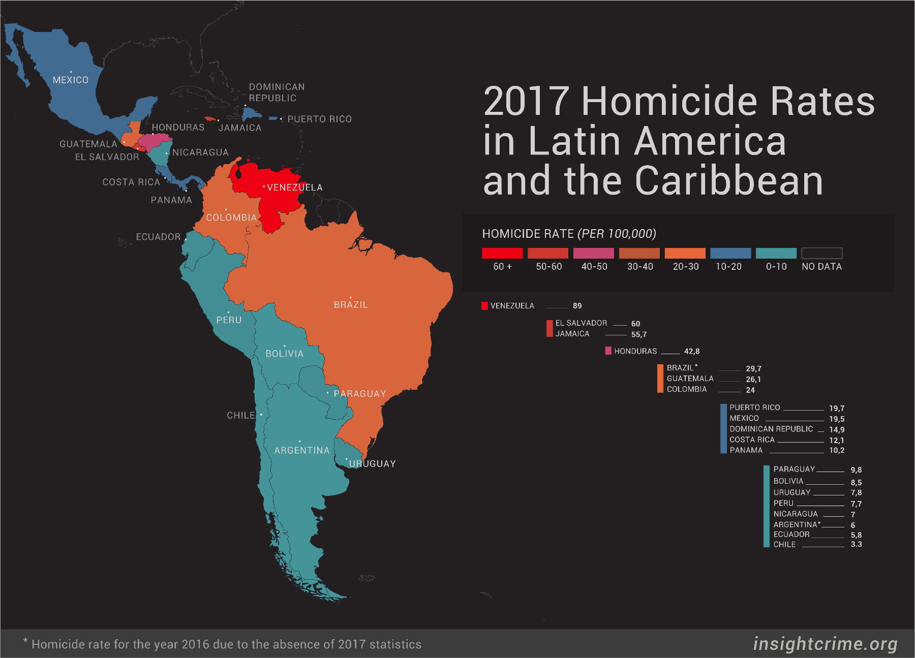Map Of America 2017.Insight Crime S 2017 Homicide Round Up In Latin America Caribbean